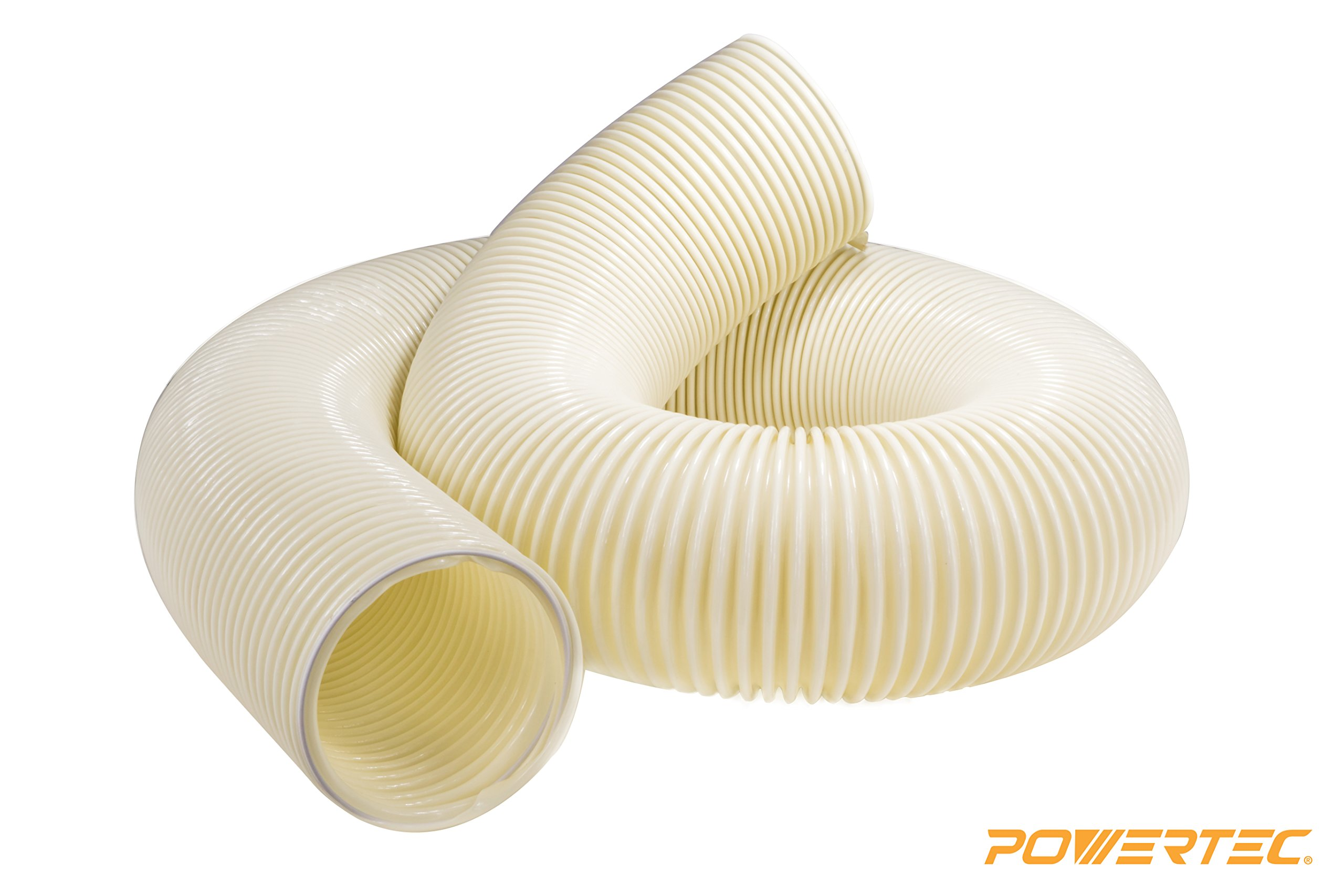 POWERTEC 70160 Heavy Duty Anti Static PVC Flexible Dust Collection Hose, 4-Inch x 10-Foot