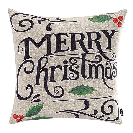 trendin merry christmas throw pillow cover gifts holly xmas home decor design cotton linen 18 x - Amazon Christmas Home Decor