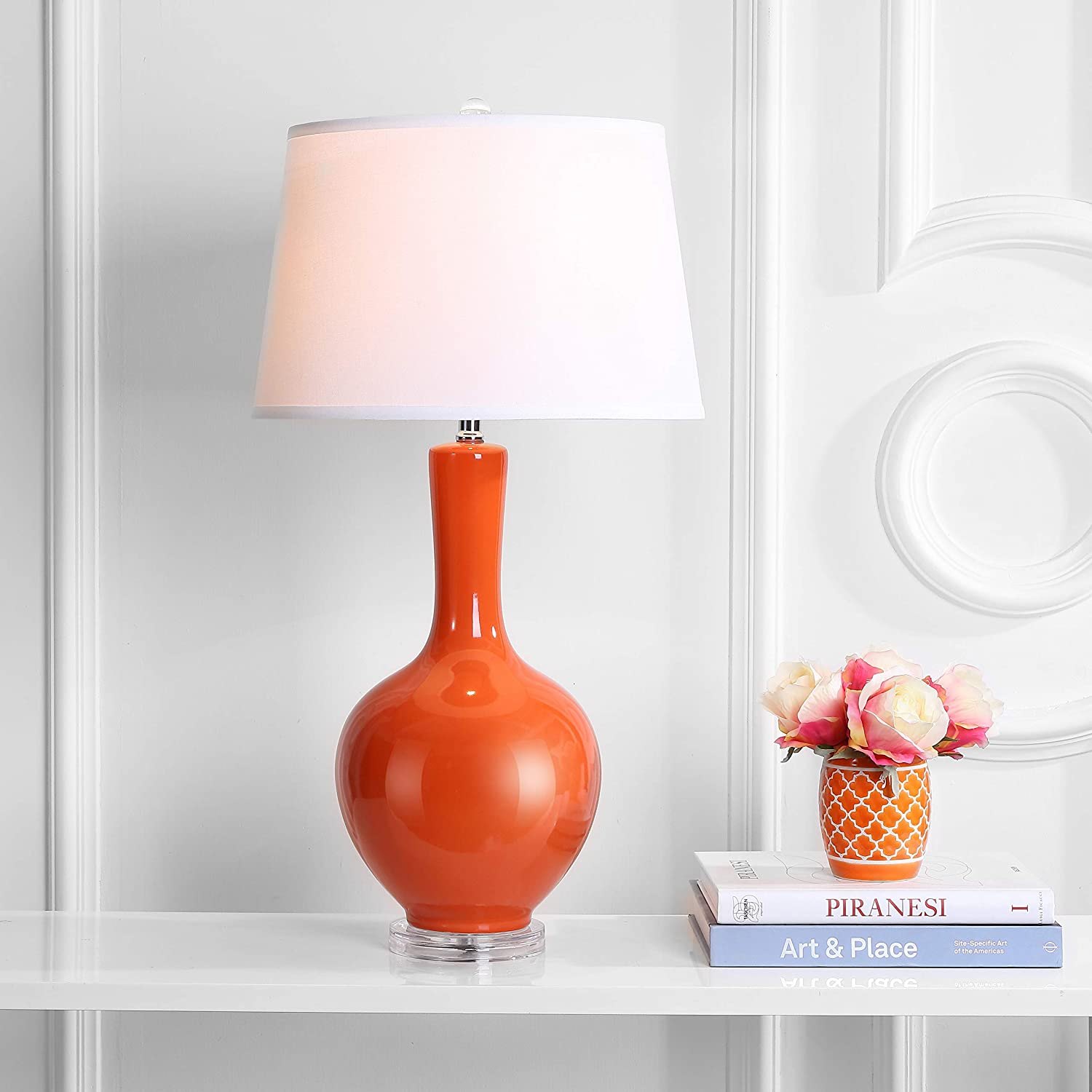 Amazon Com Safavieh Lighting Collection Blanche Gourd Orange 32 Inch Table Lamp Set Of 2 Home Kitchen