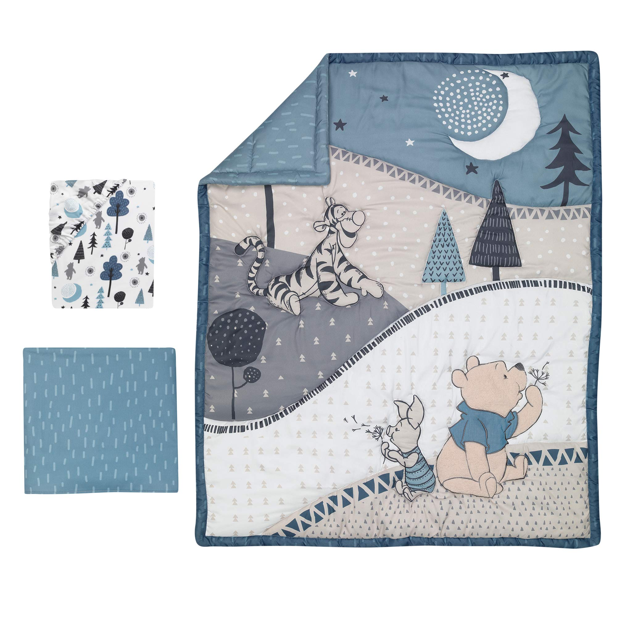Lambs & Ivy Forever Pooh 3Piece Baby Crib Bedding Set, Blue by Lambs & Ivy (Image #2)