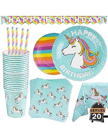 f8c59187e 102 Piece Rainbow Unicorn Party Supplies Set Including Banner, Plates, Cups,  Napkins,