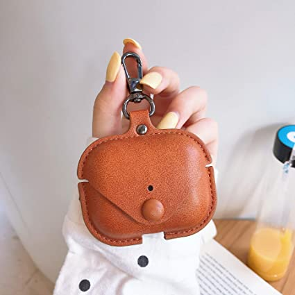 Light Brown Airpods Pro Protective Case Cover with Strap Leather Cover Skin with Keychain Leather Case Compatible for Apple Airpods Pro