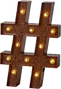 """Barnyard Designs Metal Marquee # Hashtag Sign Light Up Wall Initial Wedding, Bar, Home and Nursery Number Decoration 12"""" (Rust)"""