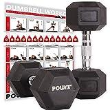 POWRX - Mancuernas hexagonales 2-30 kg - Revestimiento de Goma + PDF Workout (Negro)