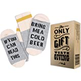 "WINE AND BEER FUNNY SOCKS + GIFT BOX -""If you can read this bring me some Wine or a Cold Beer"" Best Gifts for Women and Men"