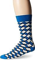 Happy Socks Men's 1pk Unisex Combed Cotton Crew-Blue Basket Weave