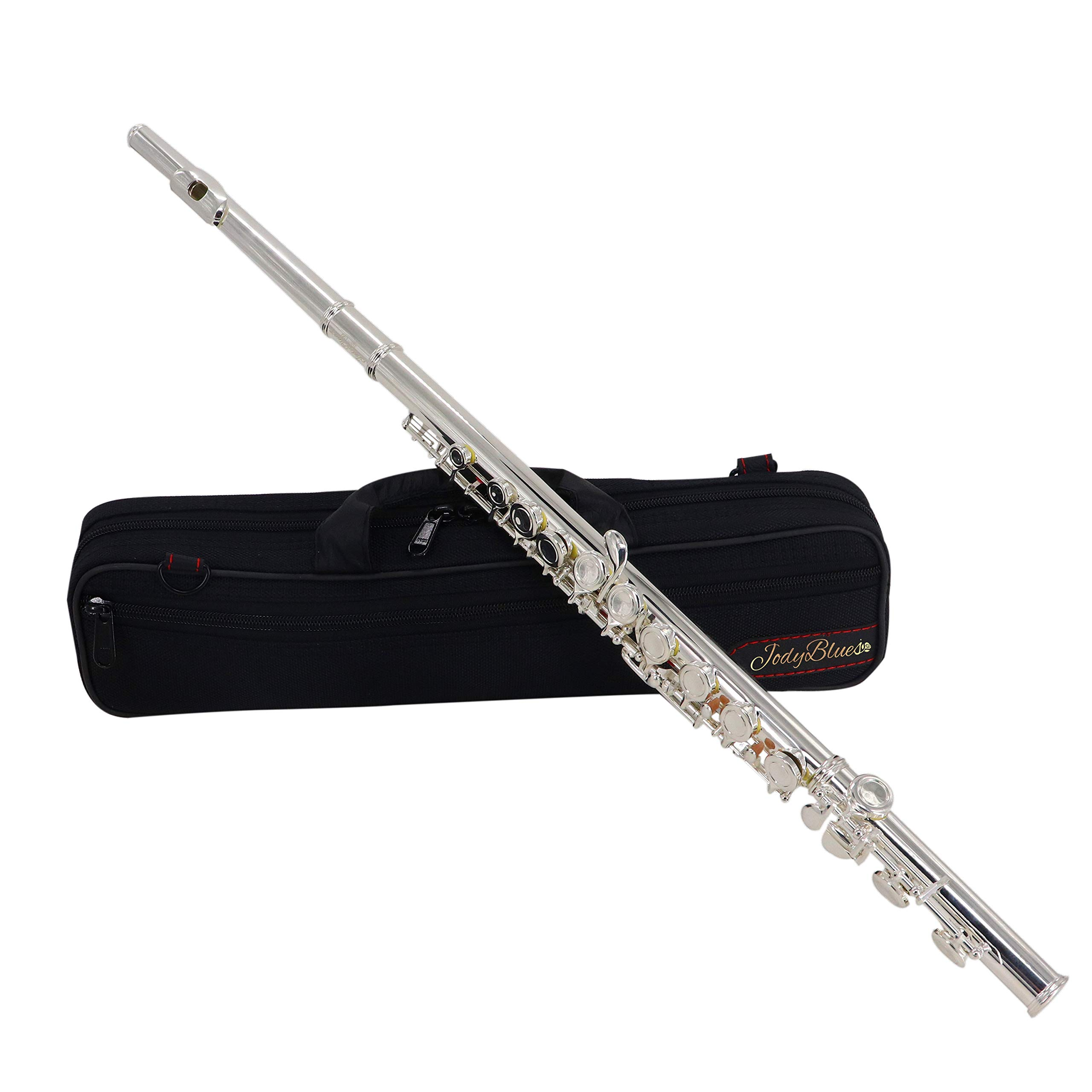 Jody Blues Closed Hole C Flute JDF-100 With Case, Tuning Rod and Cloth,Joint Grease and Gloves Silver plated by Jody Blues