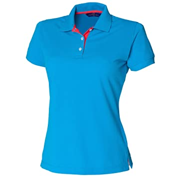 Henbury Damen Polo Shirt Slim Fit Kontrast (Small) (Saphir/Rot)