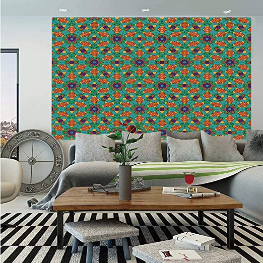 Amazon Com Sosung Orange Wall Mural Living Room Decor For India Ethnic Design Lovers Floral Print Self Adhesive Large Wallpaper For Home Decor 83x120 Inches Fern Green Marigold And Navy Blue Home Kitchen