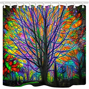 NYMB Creative Trees Decoration Bath Curtain Colorful Watercolor Spring Life Tree Shower Mildew