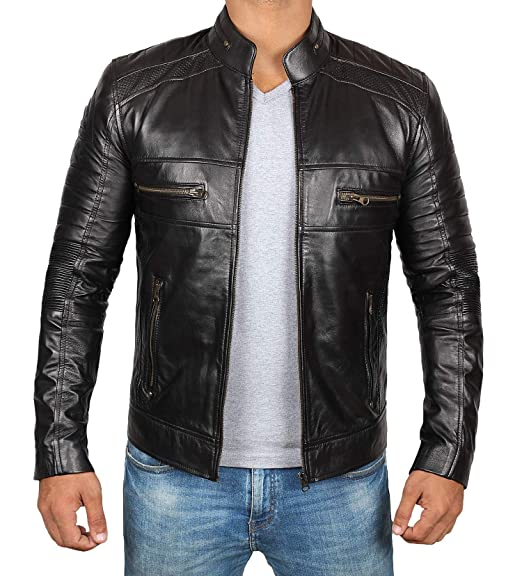 Brown Leather Jacket Men For Bikers Distressed Lambskin Waxed