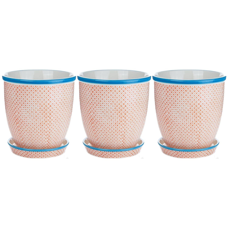 Nicola Spring, Vaso per Piante, in Porcellana, con Sottovaso, Stampa Arancione Blu, Diametro  203 mm - Set da 3
