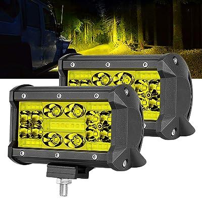 LED Pods, OFFROADTOWN 5inch Yellow LED Light Bar LED Fog Lights Spot Flood Combo Beam Offroad Lights Amber LED Driving Light for Truck Jeep ATV UTV SUV Marine: Automotive