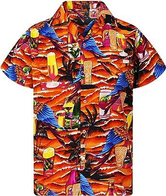 Camisa Hawaiana para Hombre Funky Casual Button Down Very Loud Manga Corta Unisex Parrot Beerbottle: Amazon.es: Ropa y accesorios