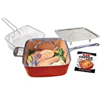 BulbHead Red Copper Non-Stick Square Ceramic 5 piece Cookware Set