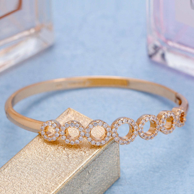 Menton Eizl 18K White Gold Plated Heart by Heart CZ Diamonds Accent Bangle Bracelets Jewelry for Women Love Design