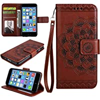 iPhone SE / 5 5S Case, Bear Village® Leather Wallet Cover, Anti-Scratch Embossing PU Case with Magnetic Closure and Card Slots for Apple iPhone SE/iPhone 5 5S (#8 Brown)