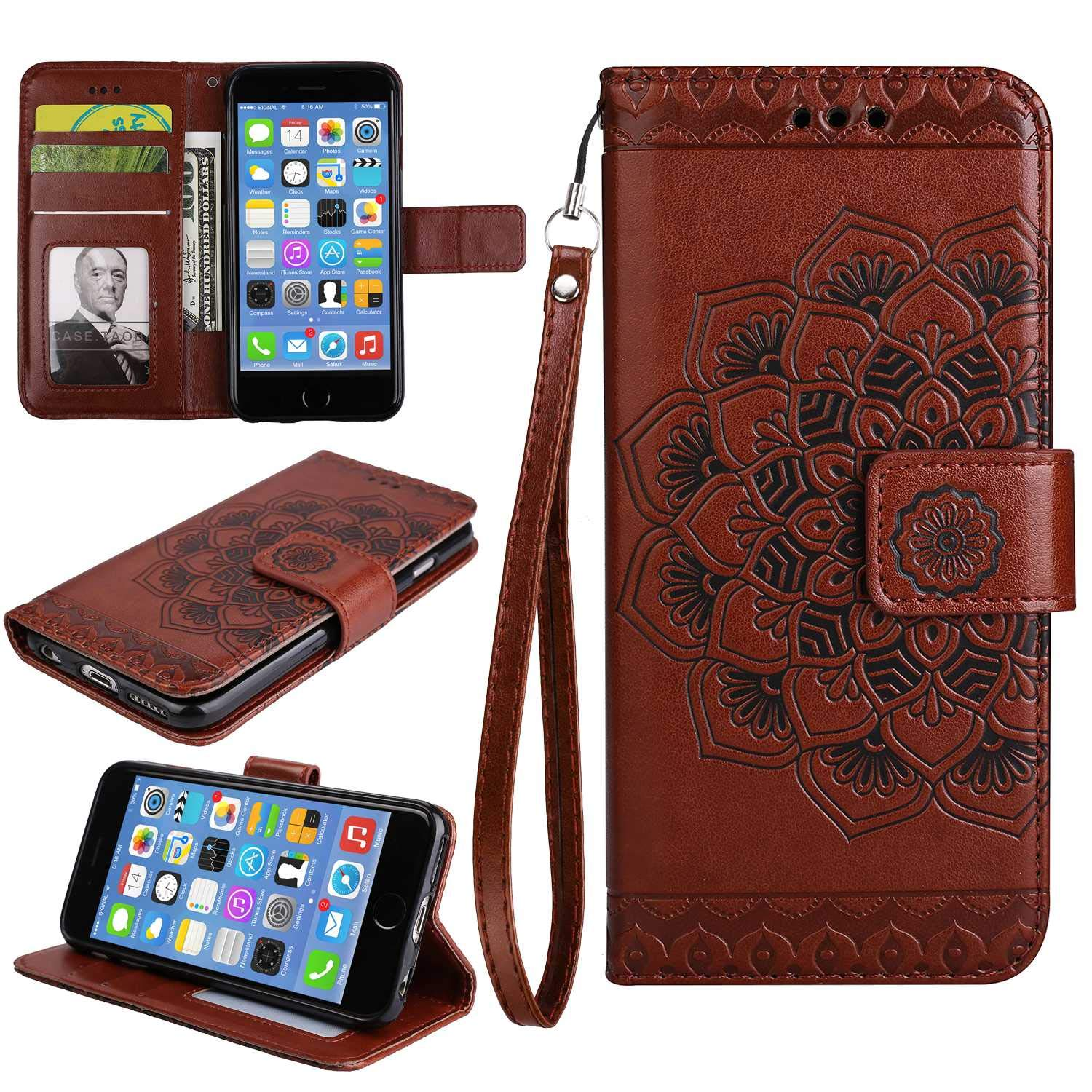 Galaxy S9 Case, Bear Village Leather Wallet Cover, Anti-Scratch Embossing PU Case with Magnetic Closure and Card Slots for Samsung Galaxy S9 (#8 Brown)