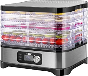 VIVOHOME Electric 400W 5 Trays Food Dehydrator Machine with Digital Timer and Temperature Control for Fruit Vegetable Meat Beef Jerky Maker BPA Free