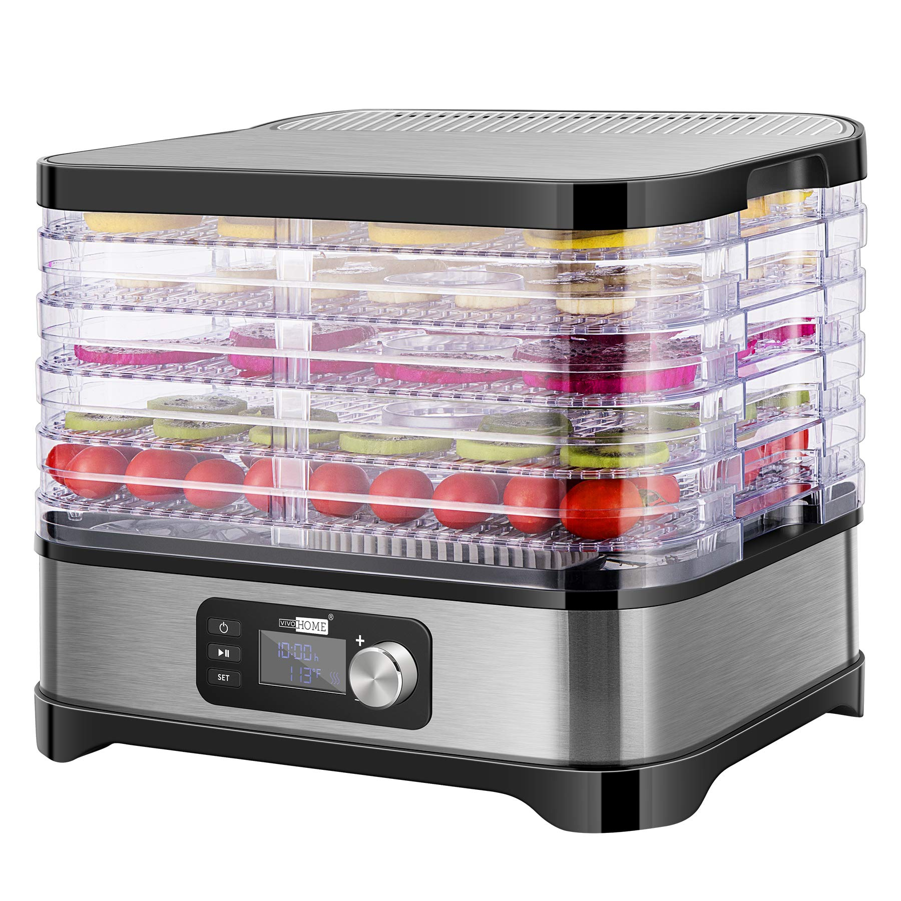 VIVOHOME Electric 400W 5 Trays Food Dehydrator Machine with Digital Timer and Temperature Control for Fruit Vegetable Meat Beef Jerky Maker BPA Free by VIVOHOME