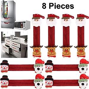 Tanlee Christmas Refrigerator Door Handle Covers, Santa Snowman Reindeer Pet Kitchen Appliance Fridge Microwave Oven Dishwasher Door Handle Covers for Kitchen Decorations (8)
