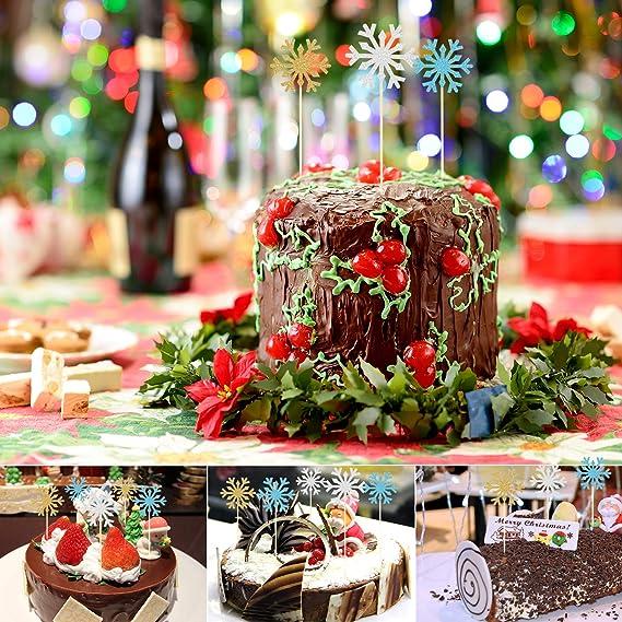 10Stück Schneeflocke Papier Kuchenstecker Tortenstecker Cake Topper