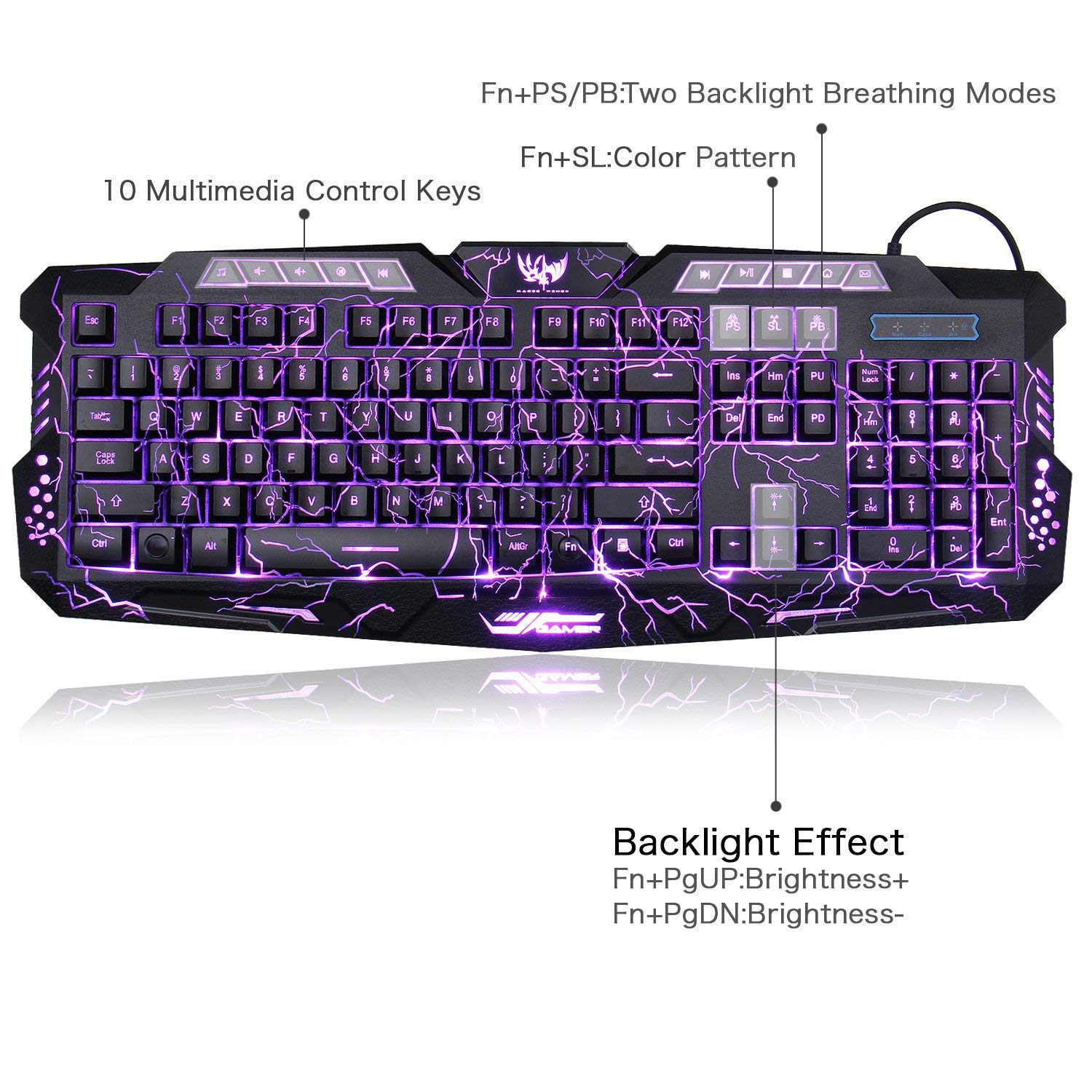 55bc2583237 BlueFinger Adjustable Crack Backlit LED Gaming Keyboard with MousePad:  Amazon.co.uk: Computers & Accessories