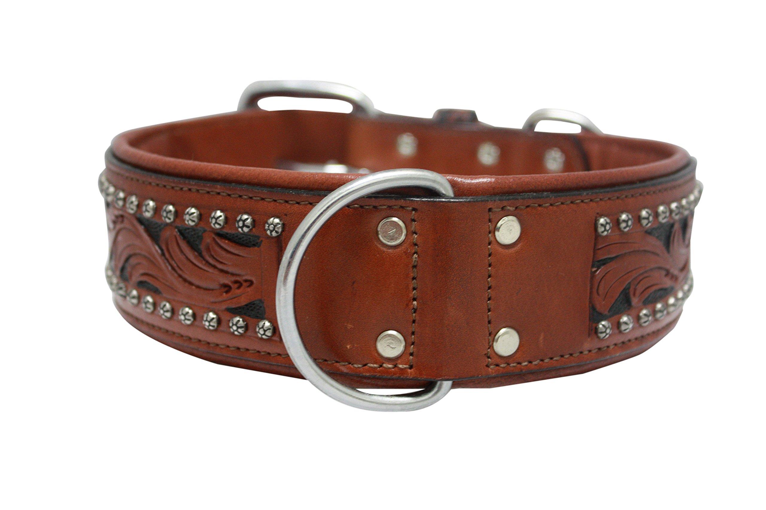 Genuine leather dog collar. 26'' x 2'', Western tooled in brown/black inlay, hand-carved, Argentinean cowhide. Angel Elite (MESA) Necks: 20''-24''