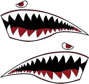 MOOCY 2Pcs Wall Art Warhawk Shark Tiger Vinyl Sticker Waterproof DIY Funny Graphics Accessories for Car Kayak Canoe Fishing Boat Truck Jet Ski Hobie Dagger Ocean Boat Decoration