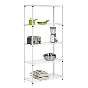 Honey-Can-Do SHF-01573 5-Tier Adjustable Shelving System, 14-Inch by 36-Inch by 72-Inch, White