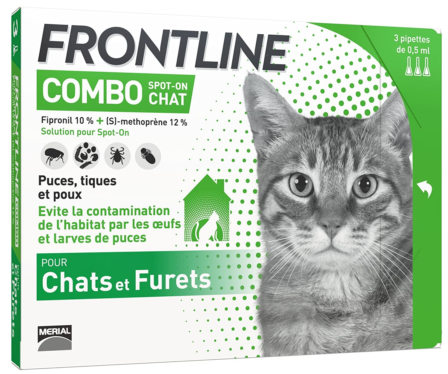 FRONTLINE Combo Chat - Anti-puces anti-tiques chat - 3 pipettes 3661103005957