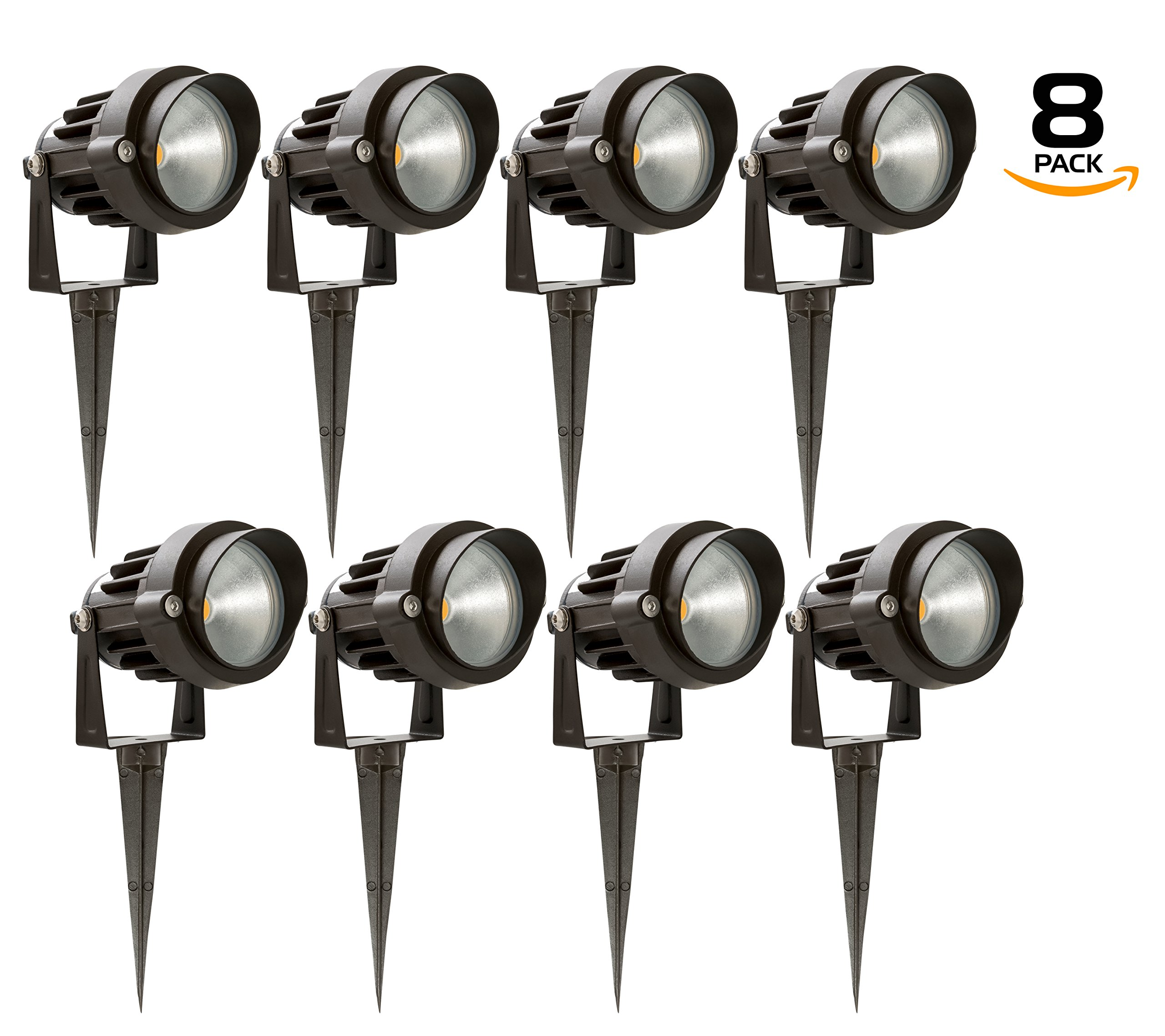 Westgate 5W LED Landscape Light, W/ COB Technology & Smooth Aluminum Reflector 12V AC/DC Suitable for Wet Locations, 5 Year Warranty (8 Pack, 3200K Warm White) by MFG Westgate