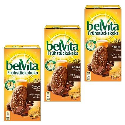 3 x BelVita desayuno galleta de chocolate, Choco con fina de ...