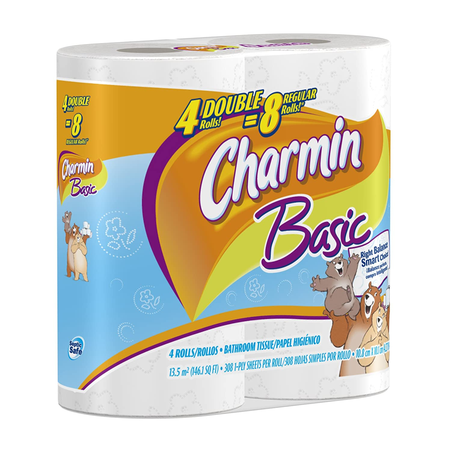 Amazon.com: Charmin Basic, Double Rolls, 4 Count Pack (Pack of 10 ...