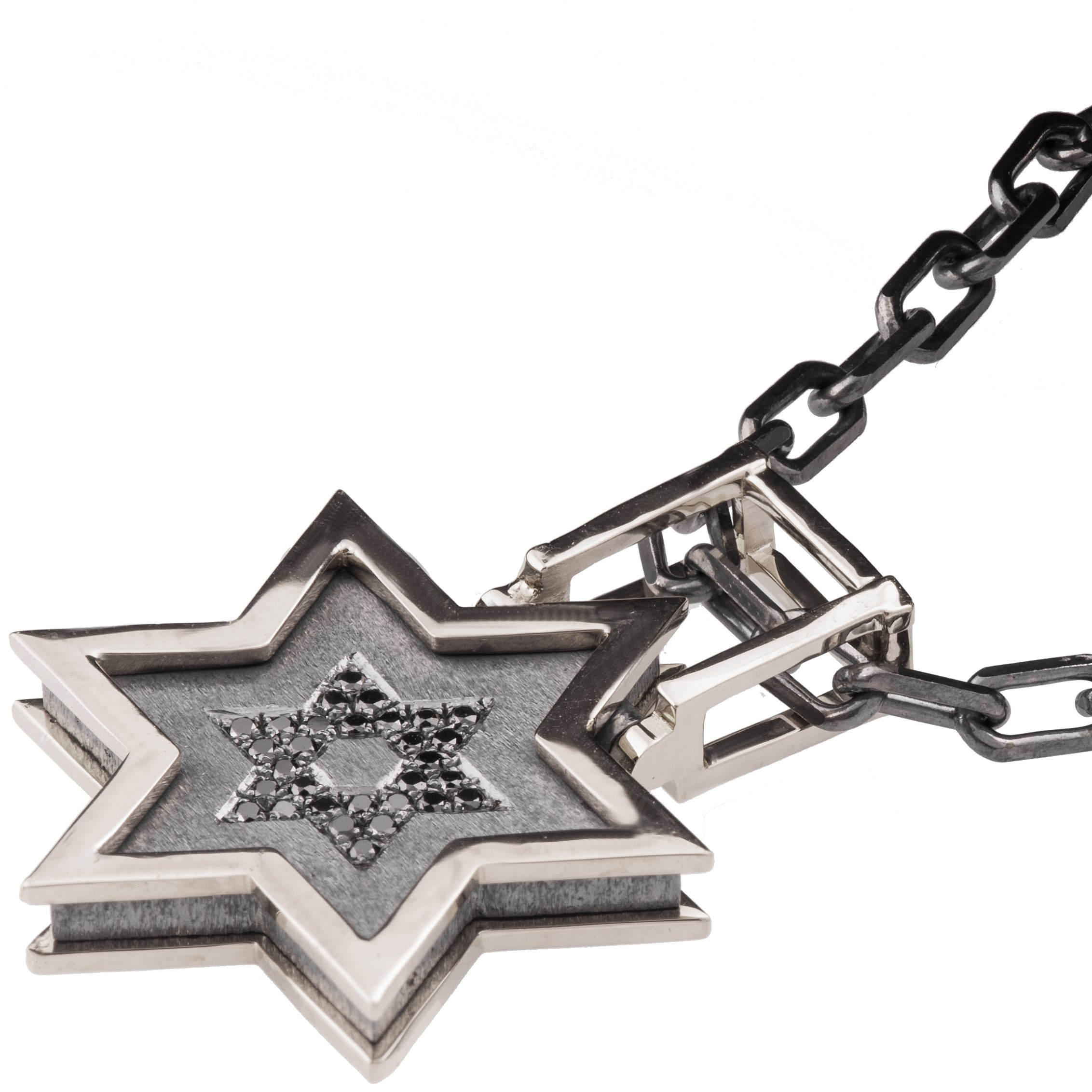 Solid 18K Rose Gold and Black Diamonds Star of David Pendant For Men Pave Necklace Black Two Tone David Shield Kabbalah Judaica Steampunk Chain