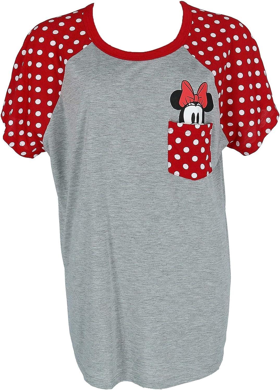 Disney Plus Size Fashion Contrast Shoulder Top Minnie Pocket Gray Red XXL