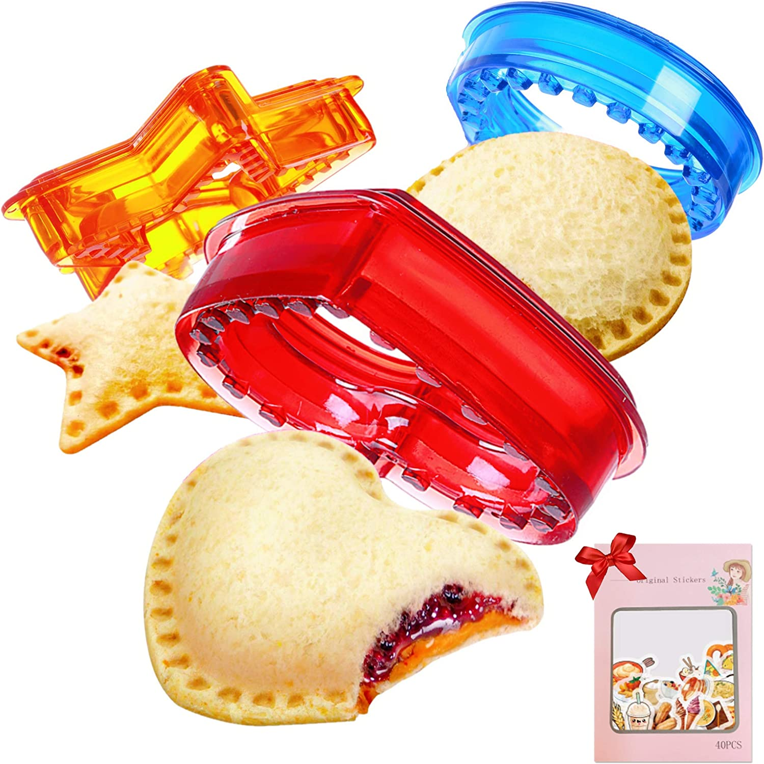 Sandwich Cutter and Sealer, Uncrustables Sandwich Maker, Sandwich Sealer and Decruster, Sandwich cutter for Kids Great for Lunchbox and Bento Box, DIY Pocket Sandwich Heart Star Round Shape