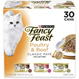 Purina Fancy Feast Classic Pate Poultry & Beef Collection Adult Wet Cat Food Variety Pack - (30) 3 oz. Cans