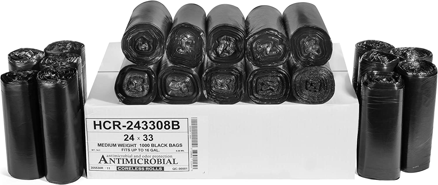 """Aluf Plastics 12-16 Gallon Black Trash Bags (1000 Count) - 24"""" x 33"""" - 8 Micron Equivalent High Density Value Garbage Bags for Bathroom, Office, Industrial, Commercial, Janitorial, Recycling"""