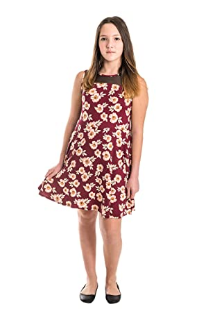 ceb55c19c06 Smile You Are Beautiful Girls Kids Full Size Brushed Floral Print Mesh  Insert Sleeveless Skater Dress