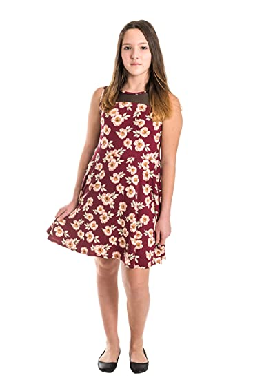 Smile You Are Beautiful Girls Extra Fit Plus Size Kids Brushed Floral Print  Mesh Insert Sleeveless Skater Dress