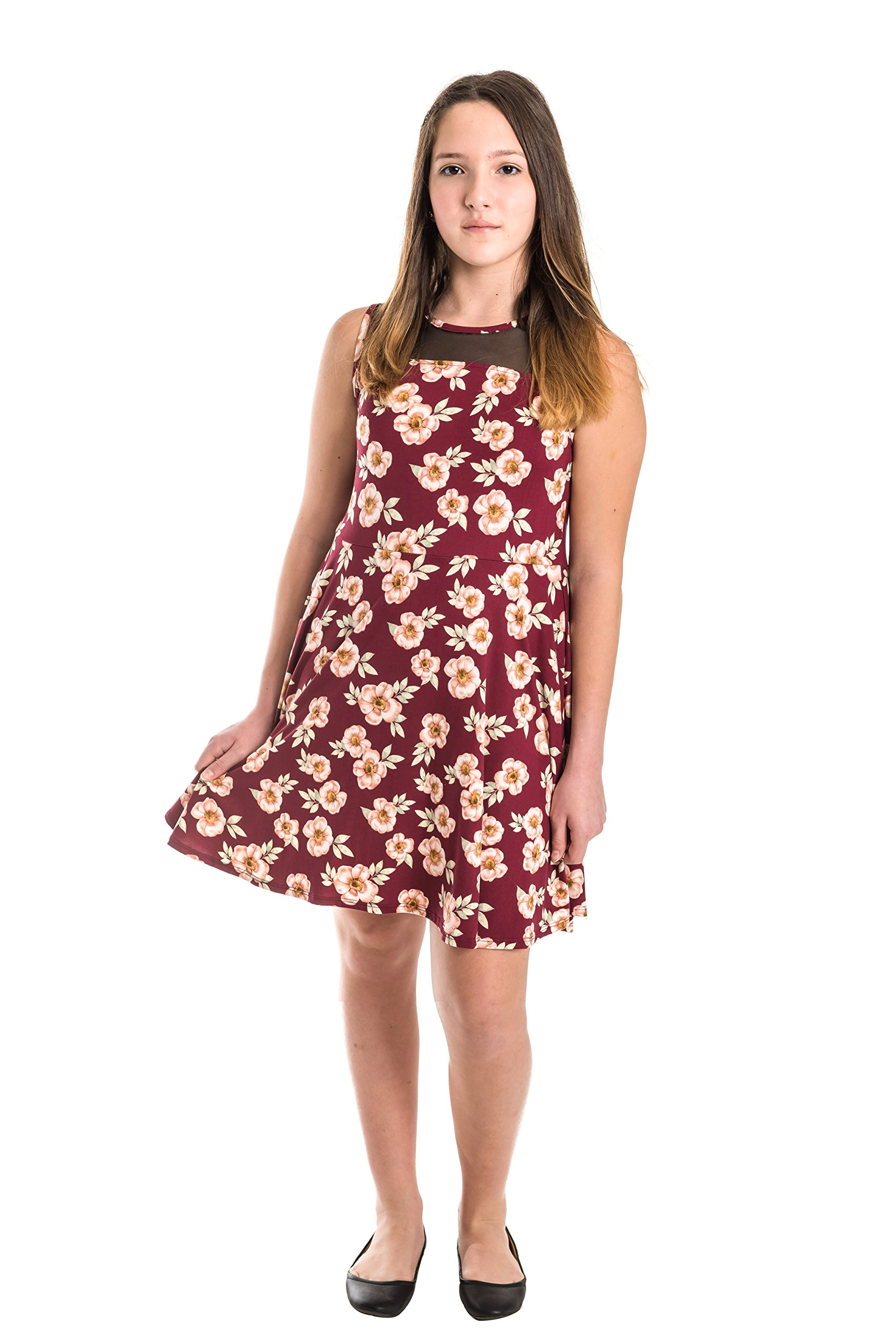 Smile You Are Beautiful Girls Kids Full Size Brushed Floral Print Mesh Insert Sleeveless Skater Dress Berry Size 10.5