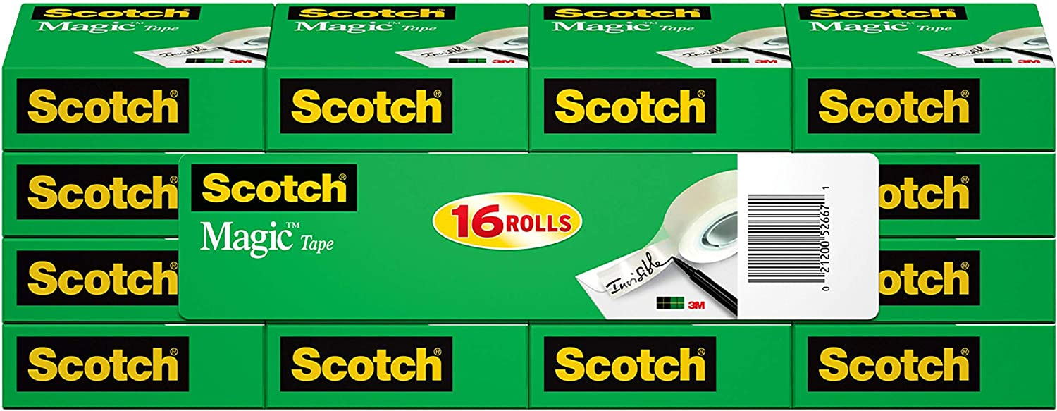 Scotch Magic Tape, 16 Rolls, Numerous Applications, Invisible, Engineered for Repairing, 3/4 x 1000 Inches, Boxed (810K16 ) : Clear Tapes : Office Products