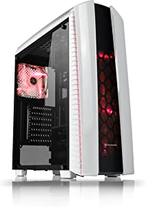 Thermaltake Versa N27 Arctic Blade ATX Gaming Mid Tower Computer Case with 3 Red LED Ring Fan Pre-installed CA-1H6-00M6WN-02
