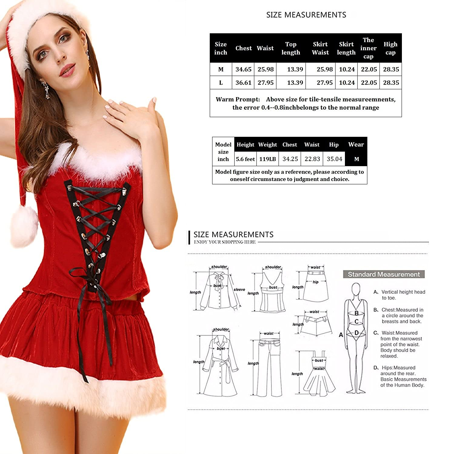 ff1a74fb2f9 Amazon.com: Kasiria Womens and Ladies Velvet Sexy Lingerie Red Miss ...
