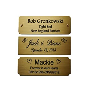 "Size: 3"" W x 1"" H, Personalized, Custom Engraved, Brushed Gold Solid Brass Plate Picture Frame Name Label Art Tag for Frames, with Adhesive Backing or Screws - Indoor use only"