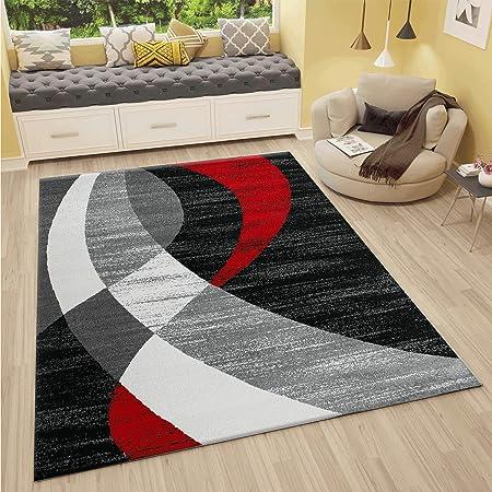 Vimoda Tapis Design Moderne Rouge Gris Noir Rayures ondulées Poils Courts  – , Dimensions : 120 x 170 cm