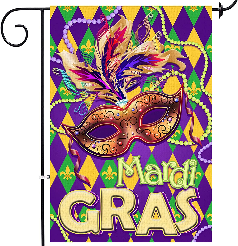 Bonsai Tree Mardi Gras Garden Flag, Double Sided Mask Beads Decorative Burlap House Flags 12x18 Prime, Fleur De Lis Carnival Yard Signs Holiday Outdoor Decor