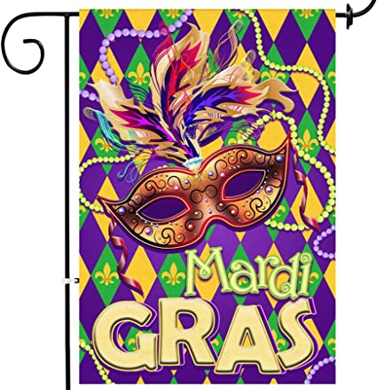 Amazon Com Bonsai Tree Mardi Gras Garden Flag Double Sided Mask Beads Decorative Burlap House Flags 12x18 Prime Fleur De Lis Carnival Yard Signs Holiday Outdoor Decor Garden Outdoor