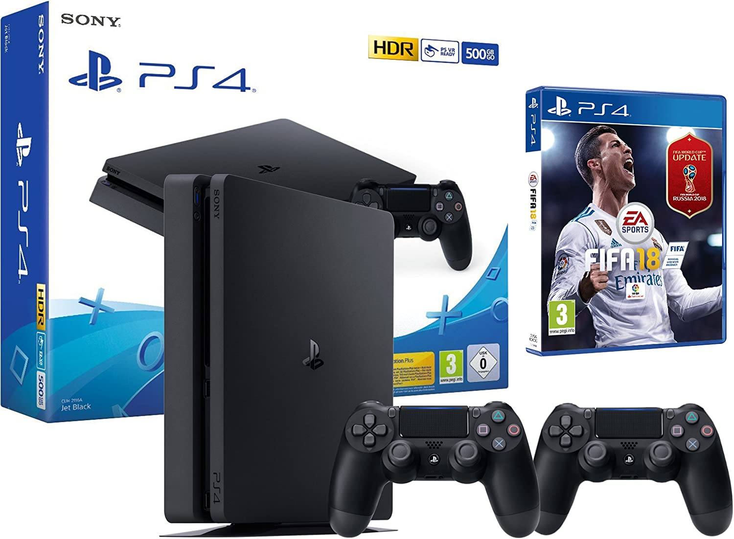 PS4 Slim 500Gb Negra Playstation 4 Consola - FIFA 18 + 2 Mandos Dualshock 4: Amazon.es: Videojuegos